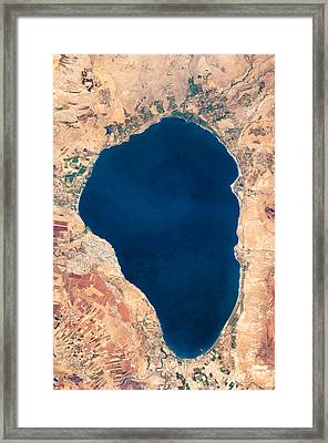 Satellite View Of Lake Tiberias - Sea Of Galilee Israel Framed Print by World Art Prints And Designs