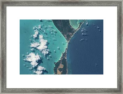 Satellite View Of North Eleuthera Framed Print