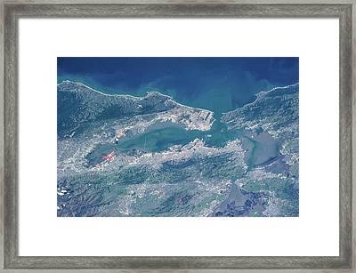 Satellite View Of San Francisco Framed Print