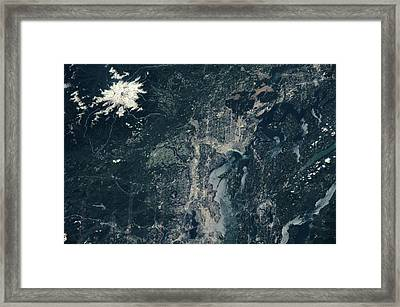 Satellite View Of Seattle And Mount Framed Print