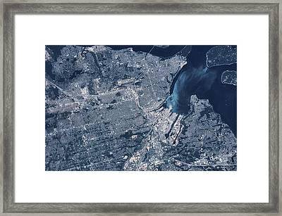 Satellite View Of Tacoma, Pierce Framed Print