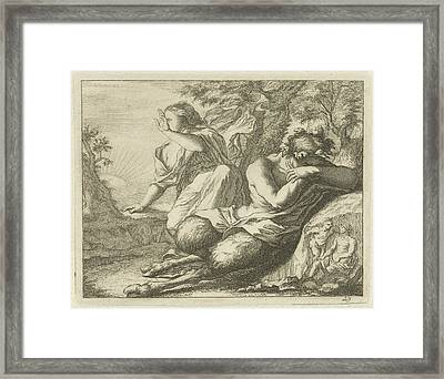 Sater And Female Figure Cover The Eyes From Sunlight Framed Print by Arnold Houbraken