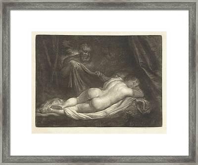 Sater Spy A Sleeping Nymph, Caspar Netscher Framed Print