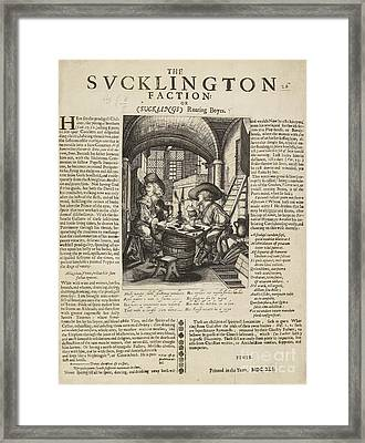 Satire On Gluttony, 17th Century Framed Print by British Library