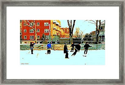 Saturday Afternoon Hockey Practice At The Neighborhood Rink Montreal Winter City Scene Framed Print by Carole Spandau