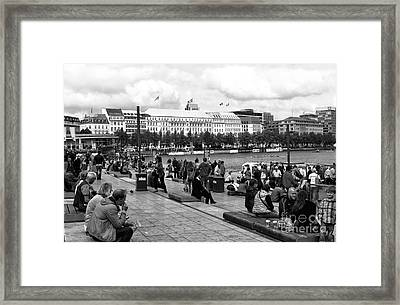 Saturday In Hamburg Mono Framed Print