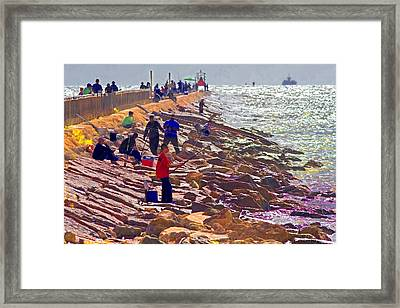 Framed Print featuring the photograph Saturday Morning On The Surfside Jetty by Gary Holmes