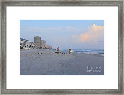 Saturday Morning Surfer Framed Print by Deborah Benoit