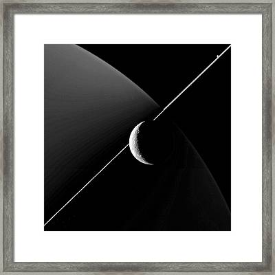 Saturn And Dione Framed Print by Nasa/jpl-caltech/space Science Institute