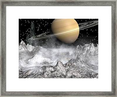 Saturn And Enceladus Framed Print