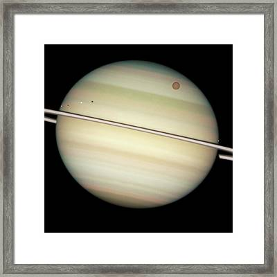 Saturn And Moon Transits Framed Print by Nasa/esa/hubble Heritage Team (stsci/aura)