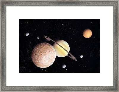 Saturn And Moons Framed Print by Richard Bizley