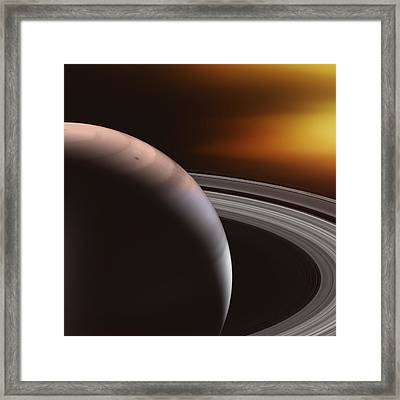 Saturn And Rings Framed Print by Daniel Hagerman