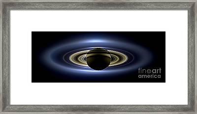 Saturn Cassini View High Contrast Framed Print