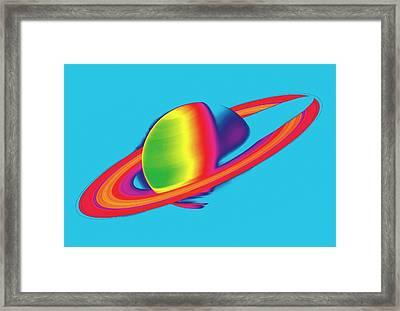 Saturn From Space Framed Print by Detlev Van Ravenswaay