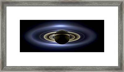 Saturn Mosaic With Earth Framed Print by Adam Romanowicz