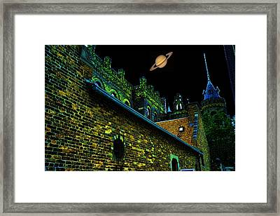 Saturn Over Pabst Brewery Fantasy Image Of Abandoned Home Of Blue Ribbob Beer From 1860  Framed Print by Lawrence Christopher