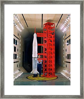 Saturn Rocket Model Testing Framed Print by Nasa