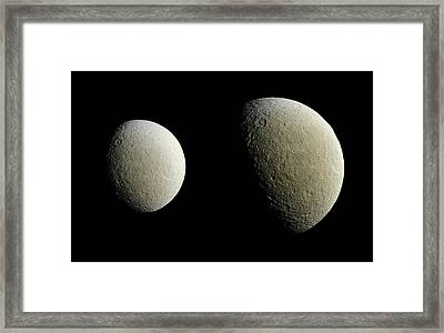 Saturn's Moon Rhea Framed Print by Nasa/jpl-caltech/space Science Institute