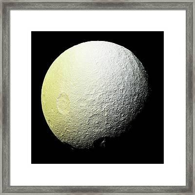 Saturn's Moon Tethys Framed Print by Nasa/jpl-caltech/space Scienc