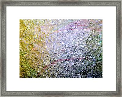 Saturn's Moon Tethys Framed Print by Nasa/jpl-caltech/space Science Institute