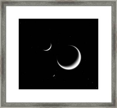 Saturn's Moons Framed Print by Nasa/jpl-caltech/space Science Institute