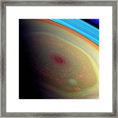 Saturn's North Polar Storm Framed Print by Nasa