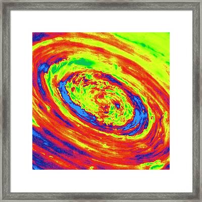 Saturn's Polar Vortex Framed Print by Detlev Van Ravenswaay