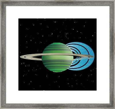 Saturn's Ring 'rain' Framed Print by Nasa/jpl-caltech/space Science Institute/university Of Leicester