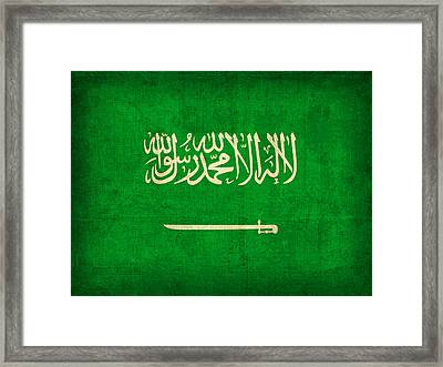 Saudi Arabia Flag Vintage Distressed Finish Framed Print