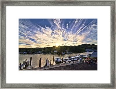 Framed Print featuring the photograph Saugatauk Sunset by John Hansen