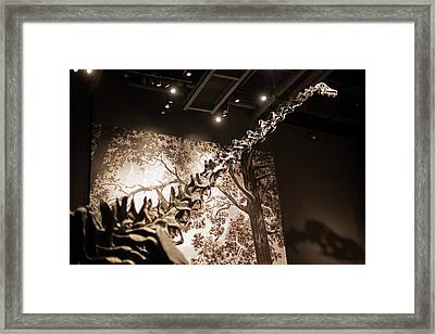 Sauropod Dinosaur Fossil Display Framed Print by Jim West