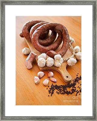 Smoked Sausage And Garlic Bulbs And Cloves Framed Print by Arletta Cwalina
