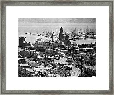 Sausalito Houseboat Community Framed Print by Underwood Archives