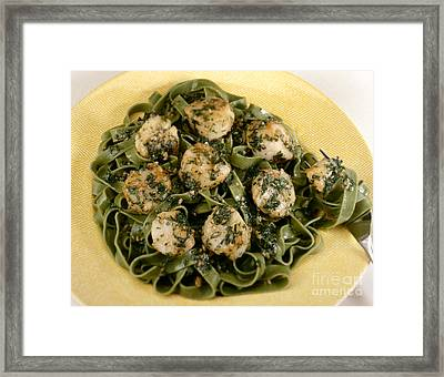 Sauteed Scallops On Spinach Noodles Framed Print by Iris Richardson