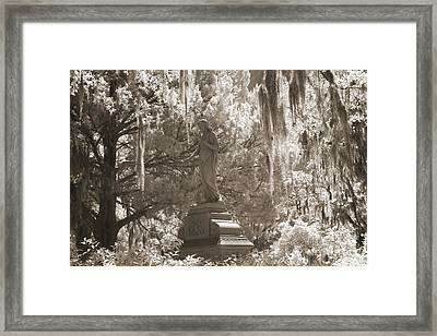 Savannah Bonaventure Cemetery Sepia Angel Monument With Hanging Spanish Moss Framed Print by Kathy Fornal