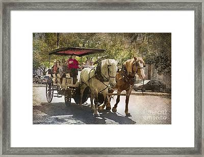 Savannah Carriage Ride Framed Print by Carrie Cranwill