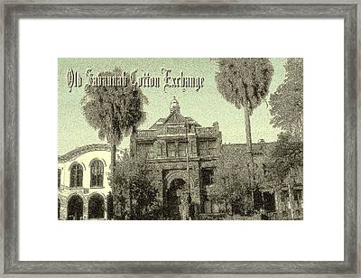 Savannah Cotton Exchange - Old Ink Framed Print by Art America Gallery Peter Potter