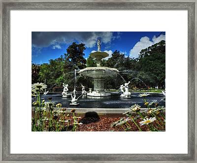 Savannah - Forsyth Park Fountain 001 Framed Print