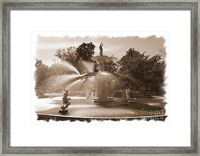 Savannah Fountain In Sepia Framed Print by Carol Groenen