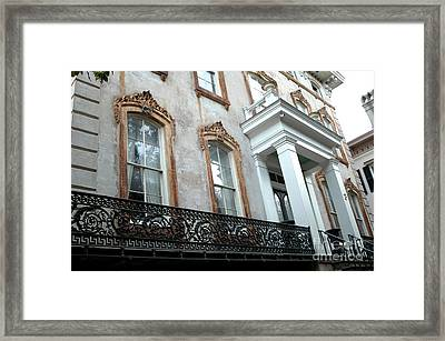 Savannah Georgia Architecture Doors And Windows Framed Print by Kathy Fornal