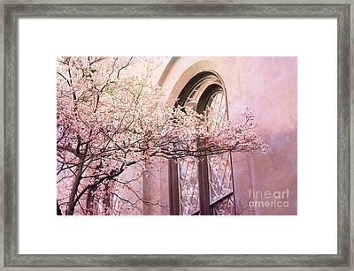 Savannah Georgia Church Window With Pink Floral Trees Nature  Framed Print by Kathy Fornal