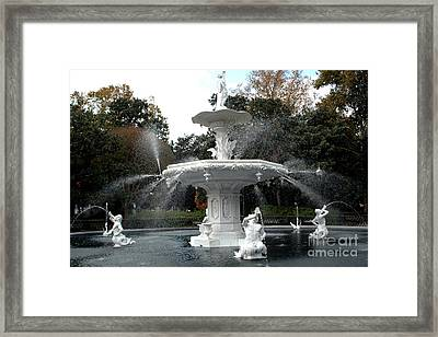 Savannah Georgia Forsythe Fountain - Forsythe Fountain Square Dreamy Landscape  Framed Print