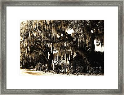 Savannah Georgia Haunting Surreal Southern Mansion With Spanish Moss Framed Print by Kathy Fornal