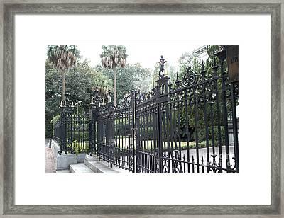 Savannah Georgia Mansion With Black Rod Iron Gates Framed Print