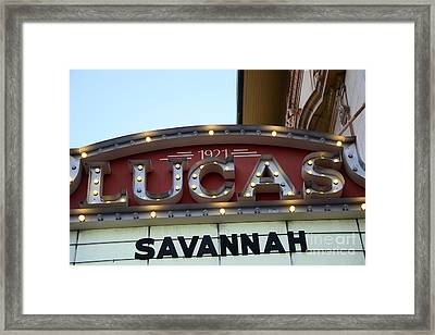 Savannah Lucas Theatre 1921 - Vintage Historical Lucas Theatre Sign Savannah Georgia  Framed Print