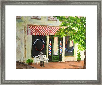 Savannah Barber Shop Framed Print