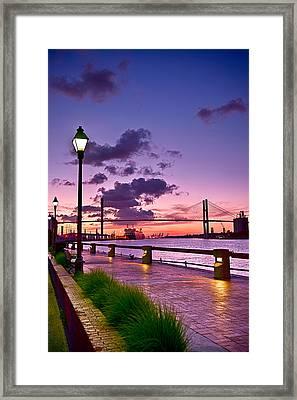 Savannah River Bridge Framed Print by Renee Sullivan
