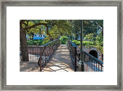 Savannah Riverfront Plaza Framed Print by John M Bailey
