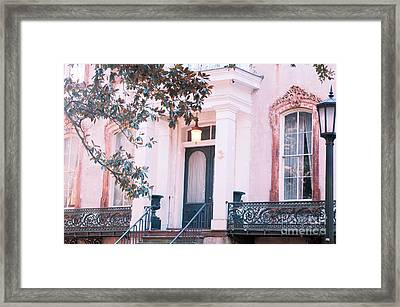 Savannah Romantic House Art Deco Windows Framed Print by Kathy Fornal
